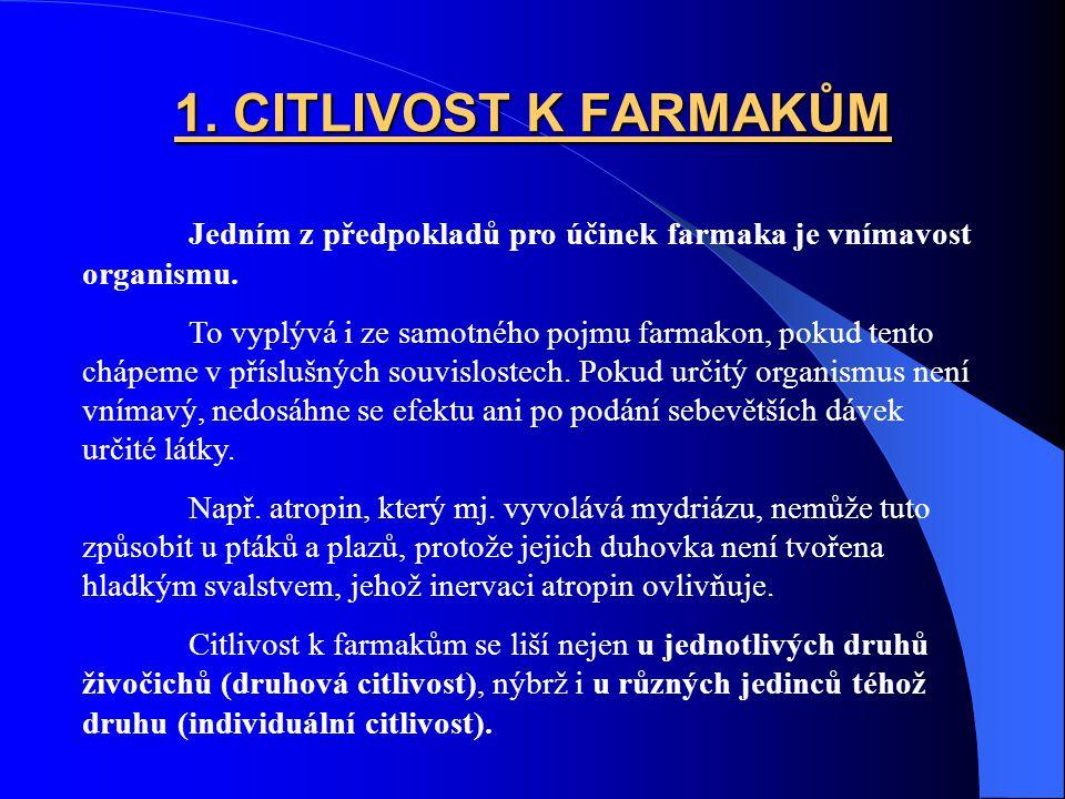 1. CITLIVOST K FARMAKŮM Jedním z předpokladů pro účinek farmaka je vnímavost organismu.