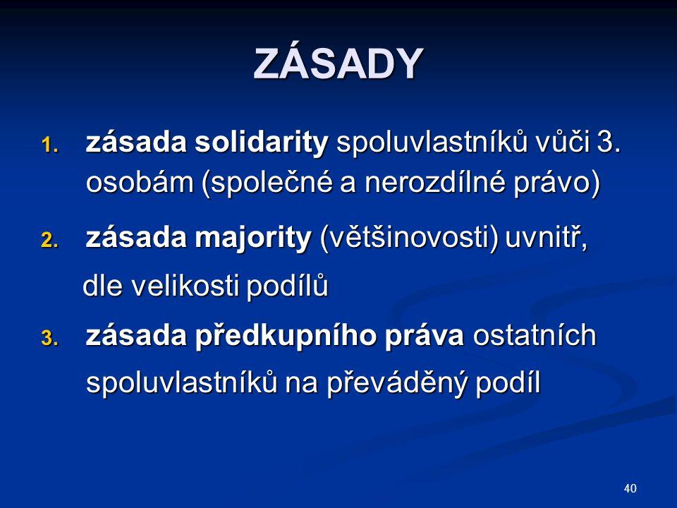 ZÁSADY zásada solidarity spoluvlastníků vůči 3. osobám (společné a nerozdílné právo) zásada majority (většinovosti) uvnitř,