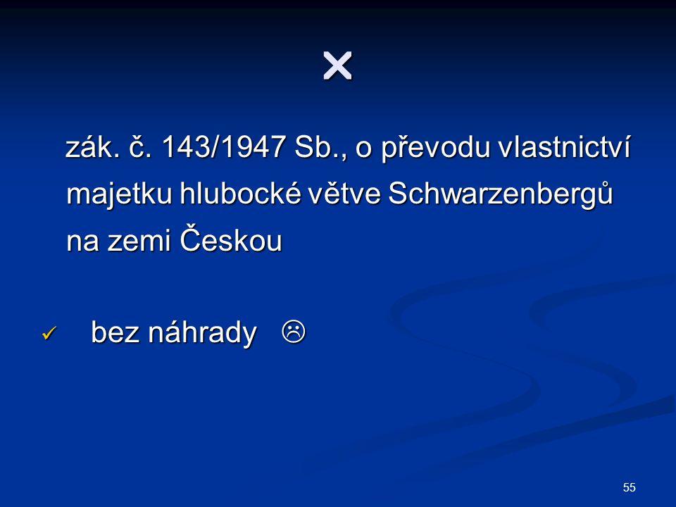  zák. č. 143/1947 Sb., o převodu vlastnictví majetku hlubocké větve Schwarzenbergů na zemi Českou.