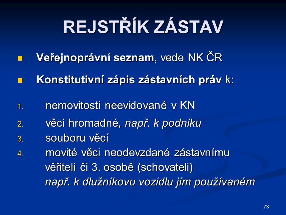 REJSTŘÍK ZÁSTAV Veřejnoprávní seznam, vede NK ČR
