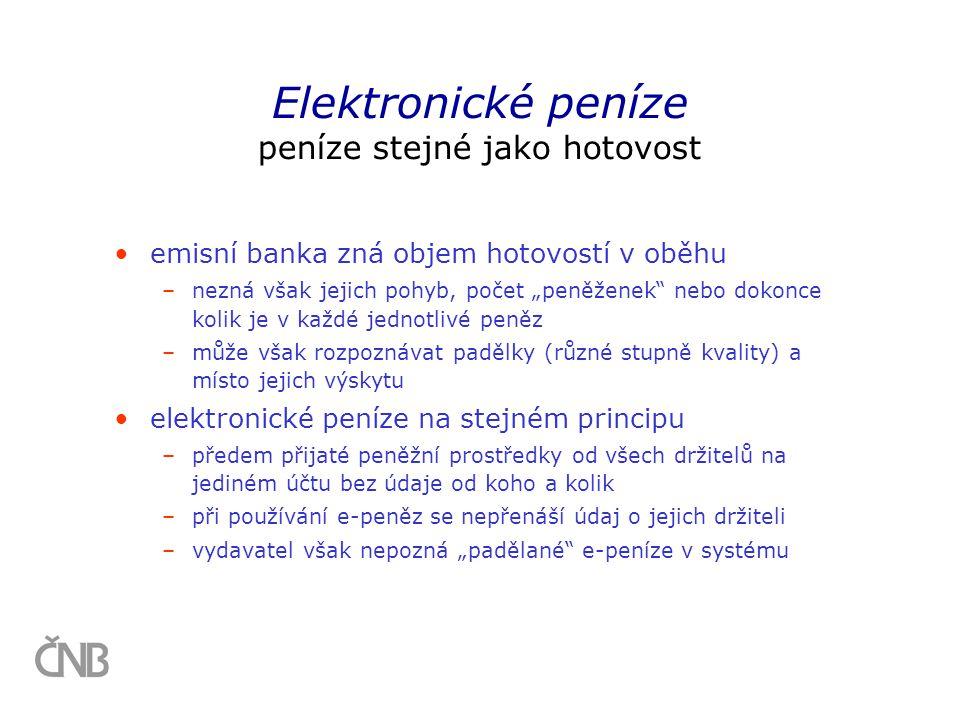 Elektronické peníze peníze stejné jako hotovost