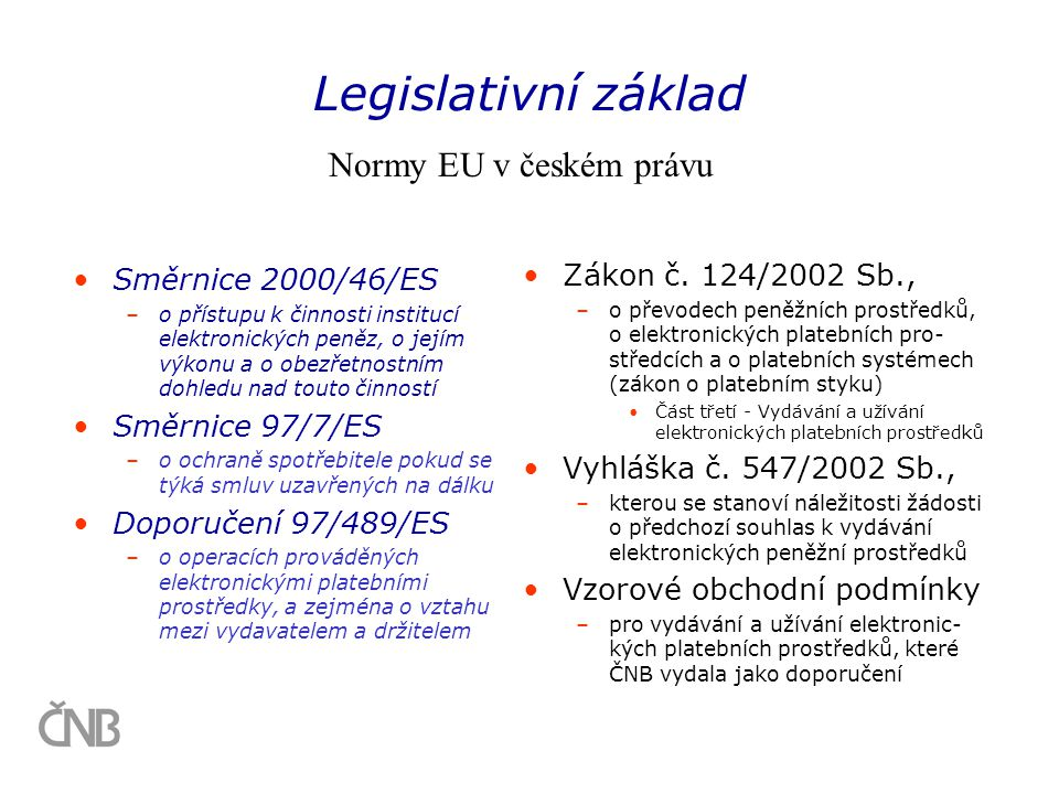 Legislativní základ Normy EU v českém právu Zákon č. 124/2002 Sb.,