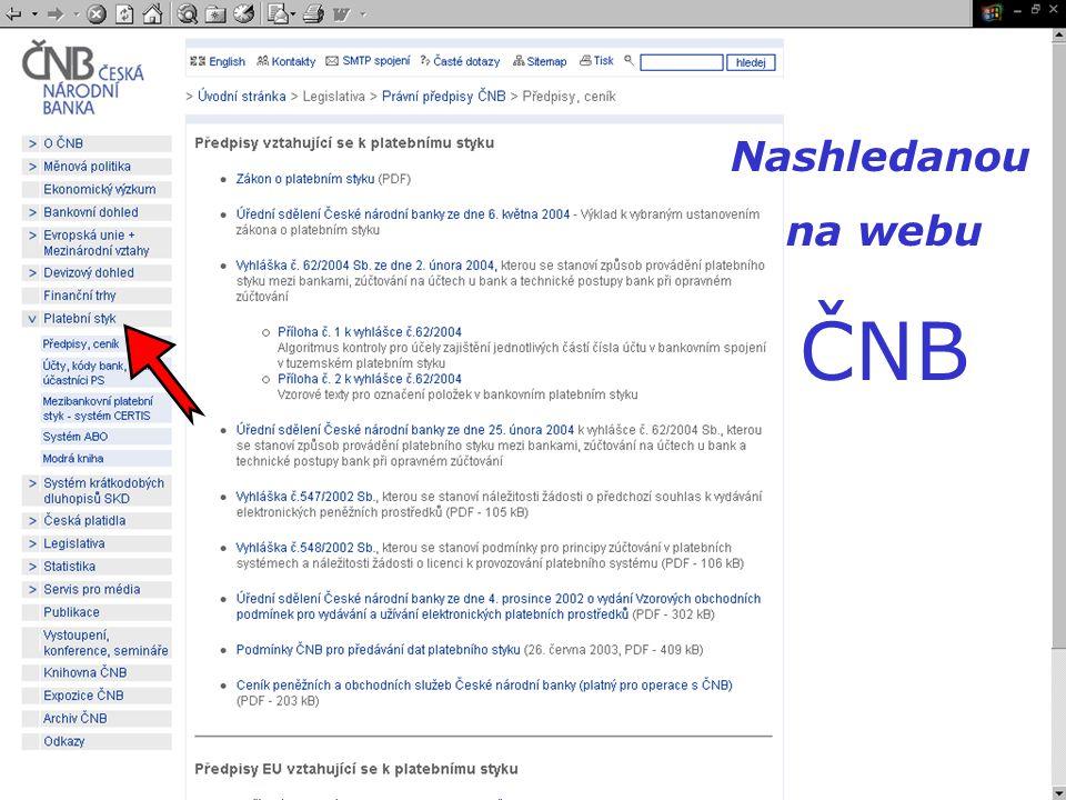Nashledanou na webu ČNB