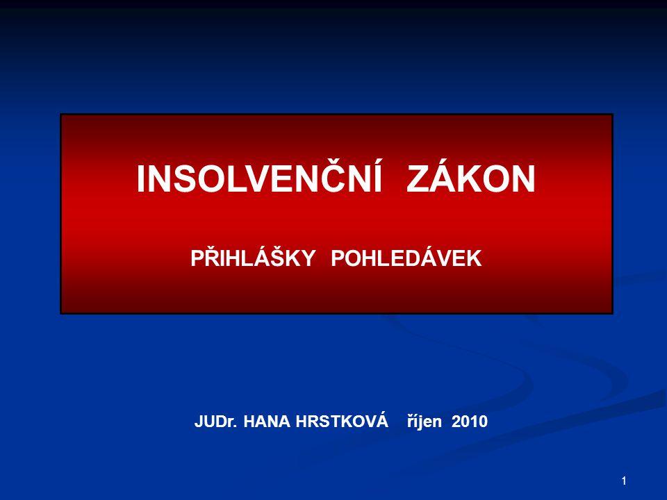 INSOLVENČNÍ ZÁKON PŘIHLÁŠKY POHLEDÁVEK JUDr. HANA HRSTKOVÁ říjen 2010