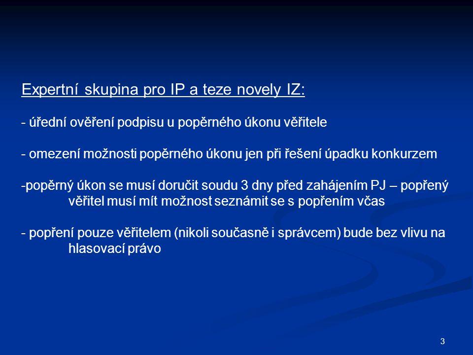 Expertní skupina pro IP a teze novely IZ: