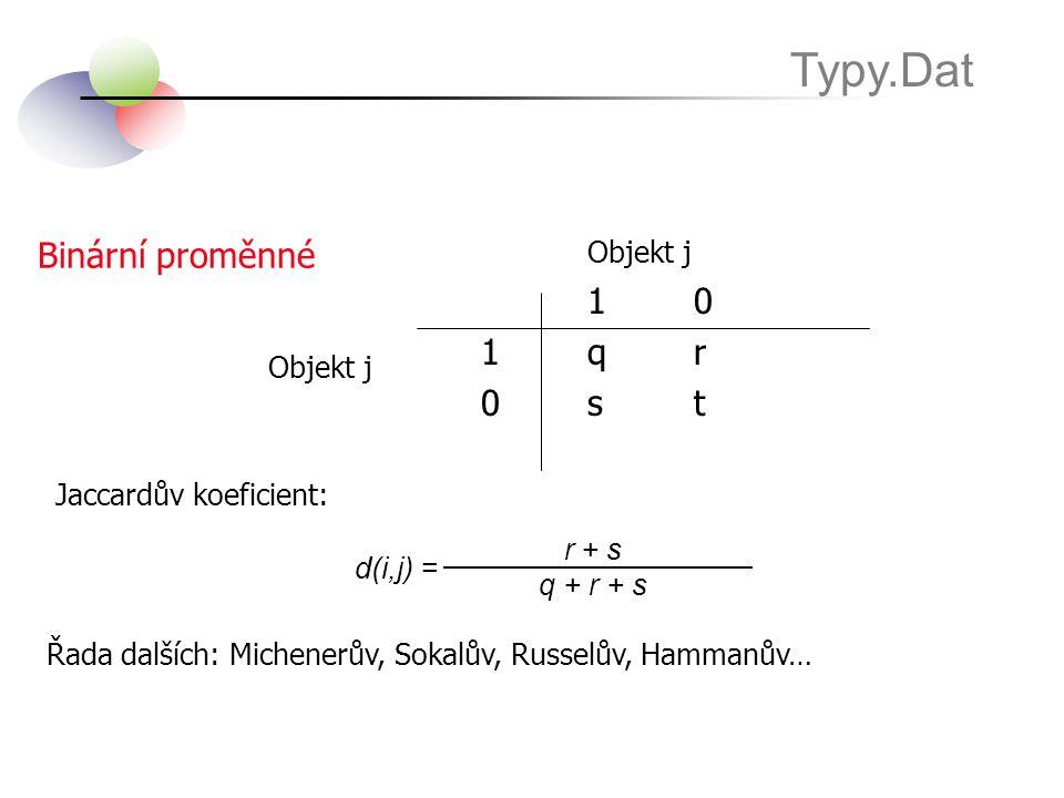 Typy.Dat Objekt j Binární proměnné 1 0 1 q r 0 s t Objekt j