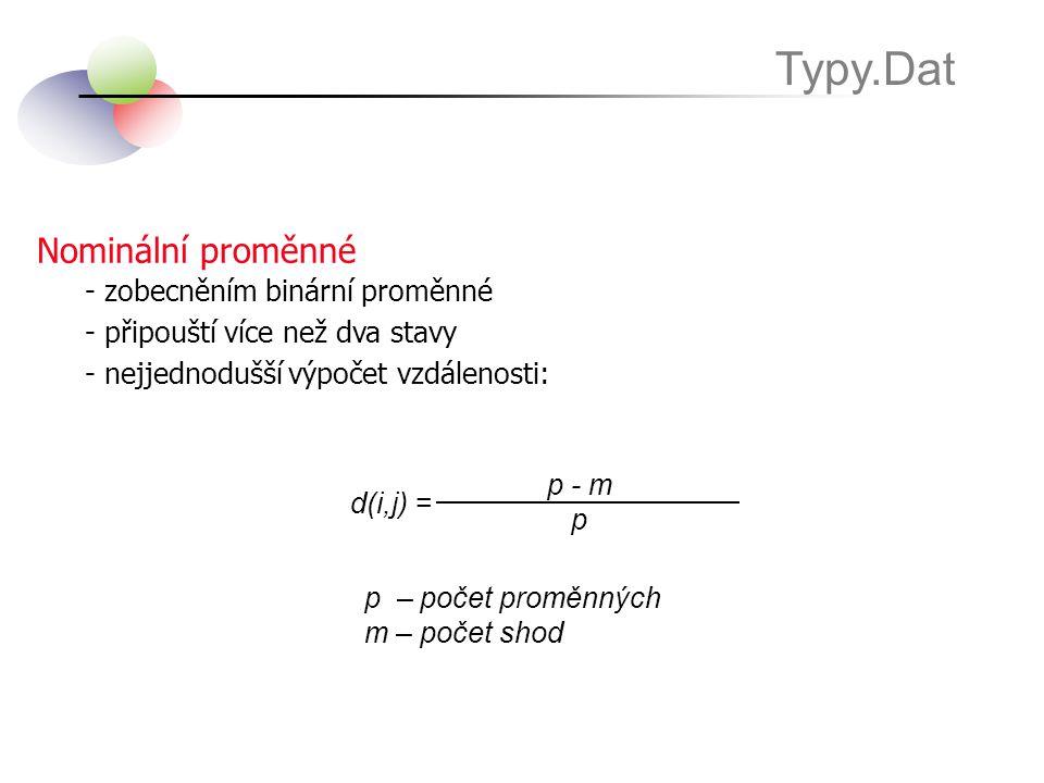 Typy.Dat Nominální proměnné - zobecněním binární proměnné