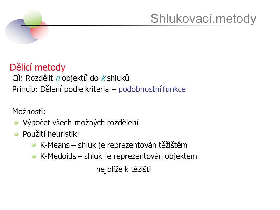 Shlukovací.metody Dělící metody Cíl: Rozdělit n objektů do k shluků