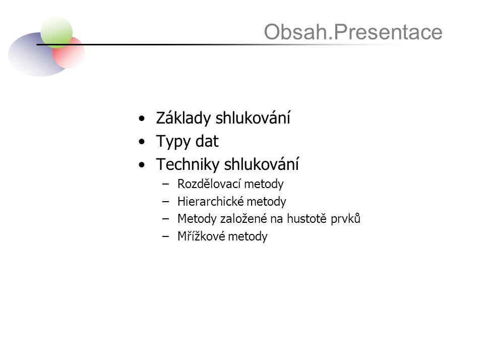 Obsah.Presentace Základy shlukování Typy dat Techniky shlukování