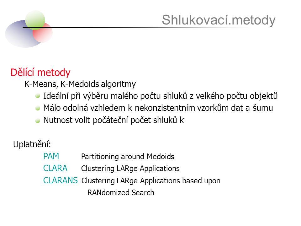 Shlukovací.metody Dělící metody K-Means, K-Medoids algoritmy