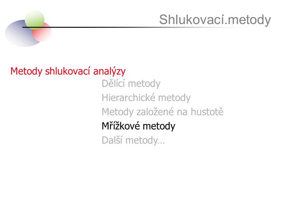 Shlukovací.metody Metody shlukovací analýzy Dělící metody