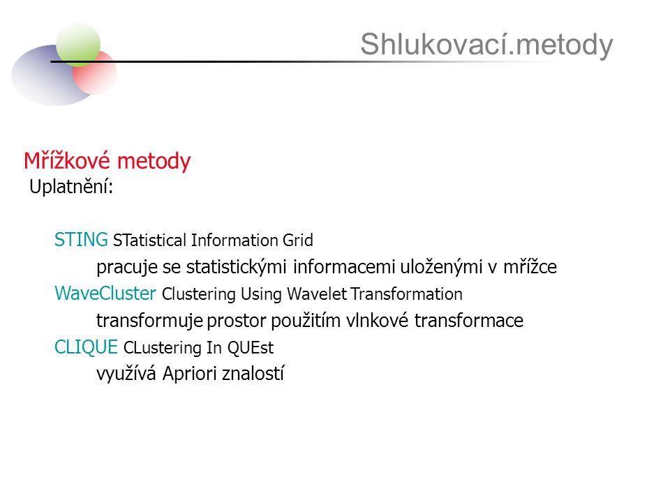 Shlukovací.metody Mřížkové metody Uplatnění: