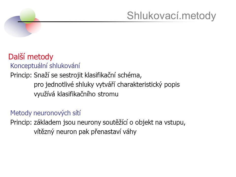 Shlukovací.metody Další metody Konceptuální shlukování