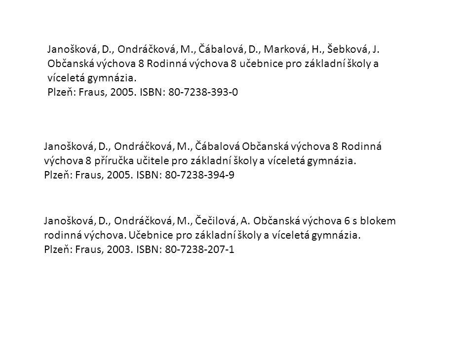 Janošková, D. , Ondráčková, M. , Čábalová, D. , Marková, H