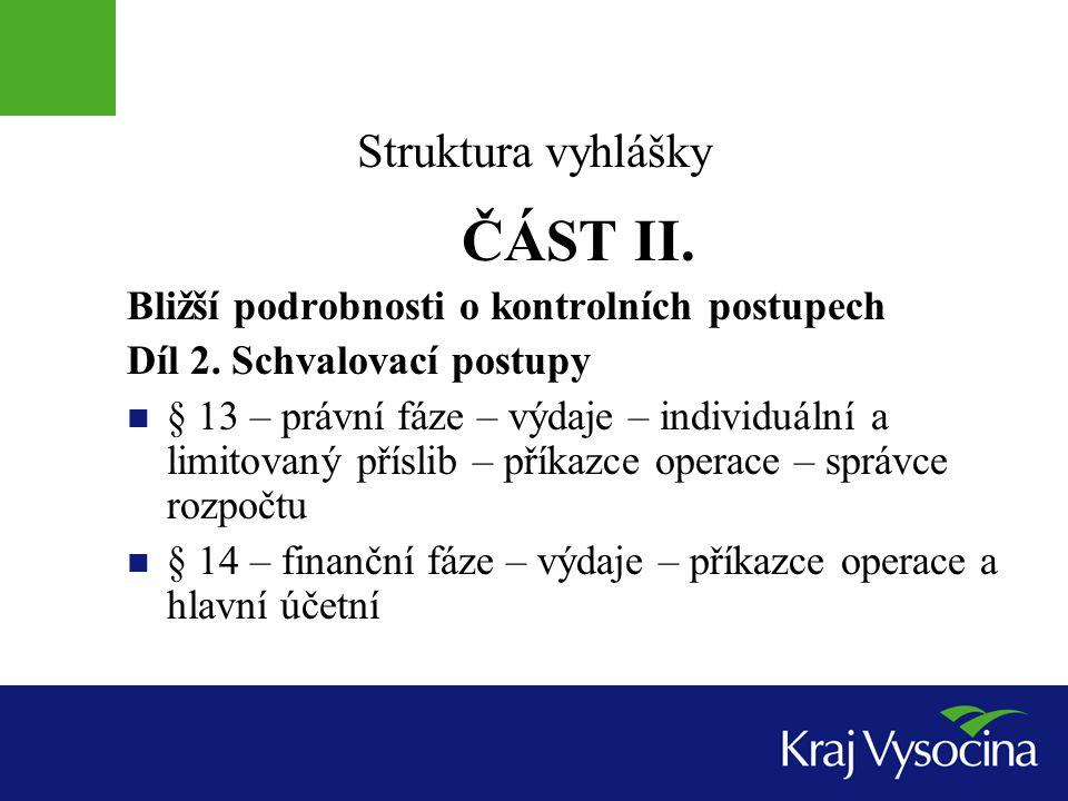 ČÁST II. Struktura vyhlášky Bližší podrobnosti o kontrolních postupech