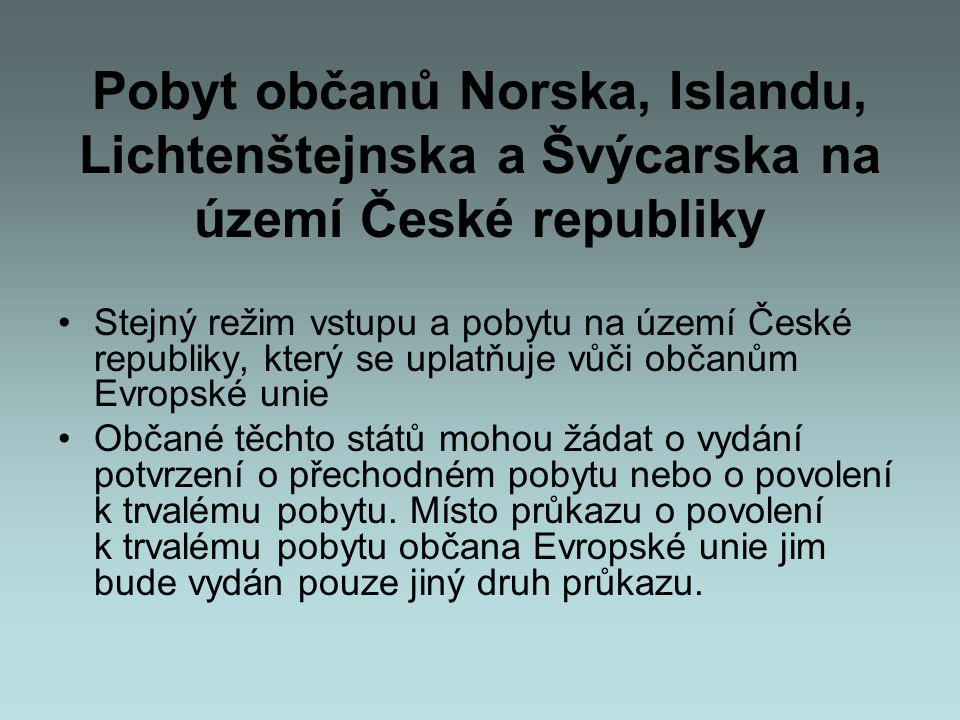 Pobyt občanů Norska, Islandu, Lichtenštejnska a Švýcarska na území České republiky