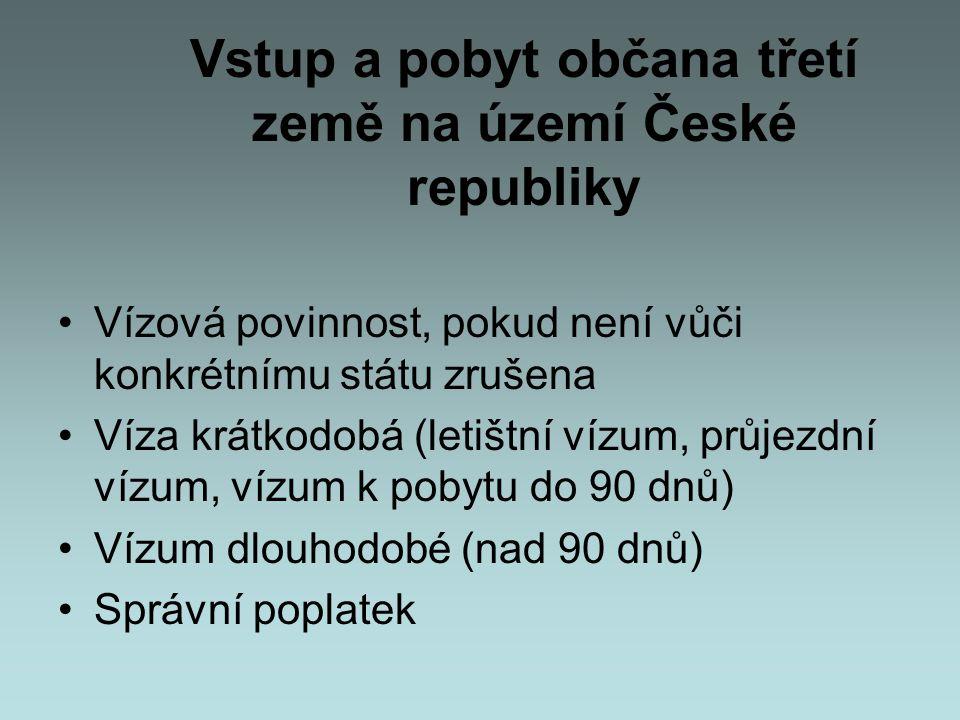 Vstup a pobyt občana třetí země na území České republiky