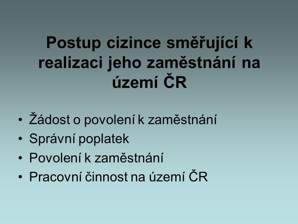 Postup cizince směřující k realizaci jeho zaměstnání na území ČR