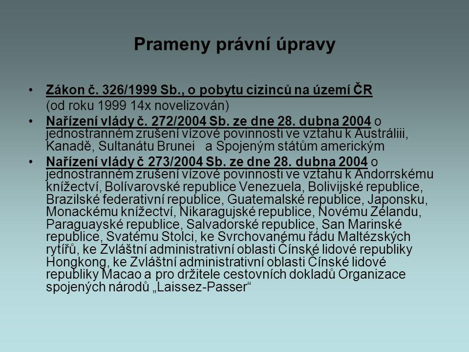 Prameny právní úpravy Zákon č. 326/1999 Sb., o pobytu cizinců na území ČR. (od roku 1999 14x novelizován)