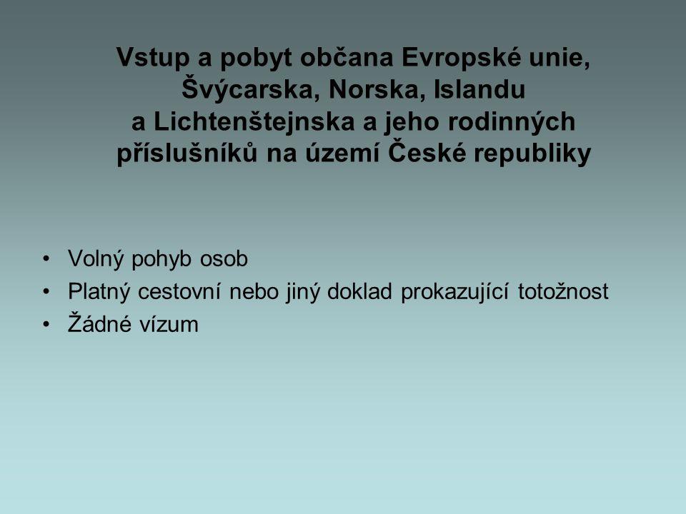 Vstup a pobyt občana Evropské unie, Švýcarska, Norska, Islandu a Lichtenštejnska a jeho rodinných příslušníků na území České republiky