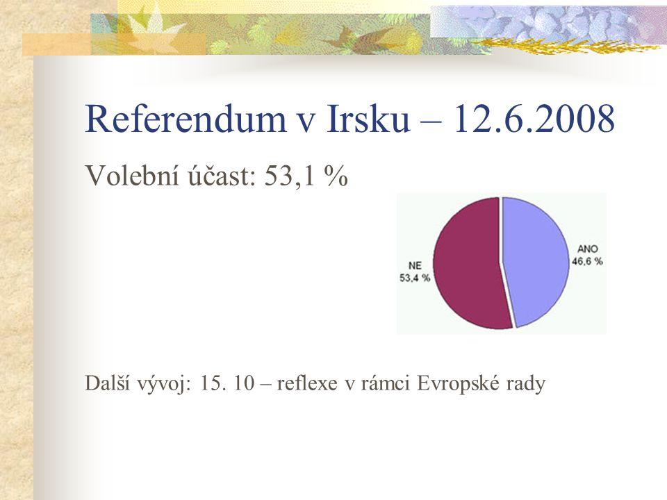 Referendum v Irsku – 12.6.2008 Volební účast: 53,1 %