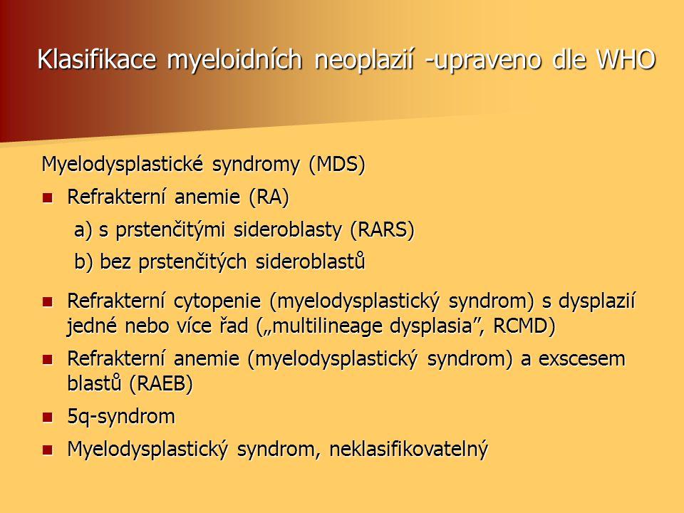 Klasifikace myeloidních neoplazií -upraveno dle WHO