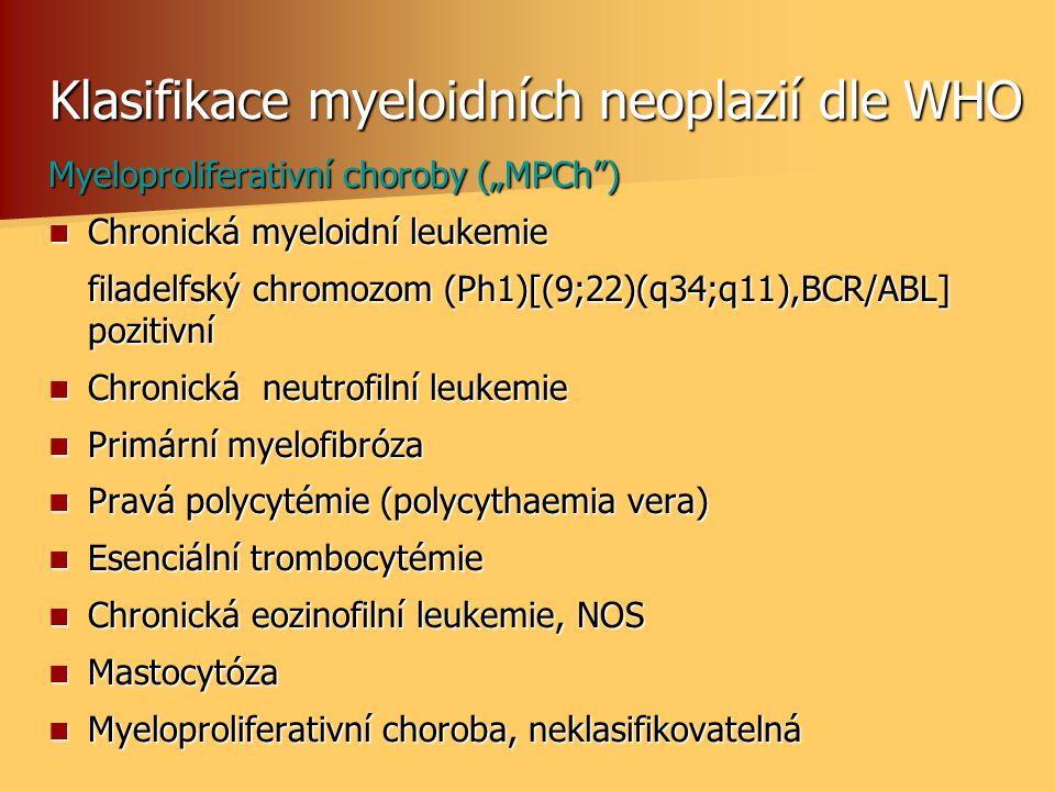 Klasifikace myeloidních neoplazií dle WHO