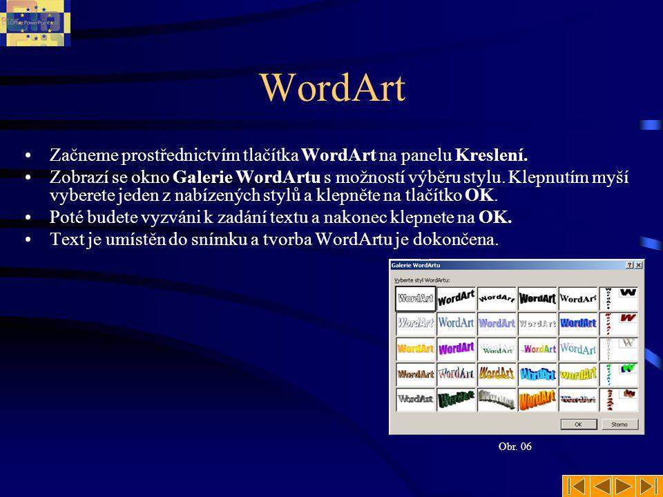 WordArt Začneme prostřednictvím tlačítka WordArt na panelu Kreslení.