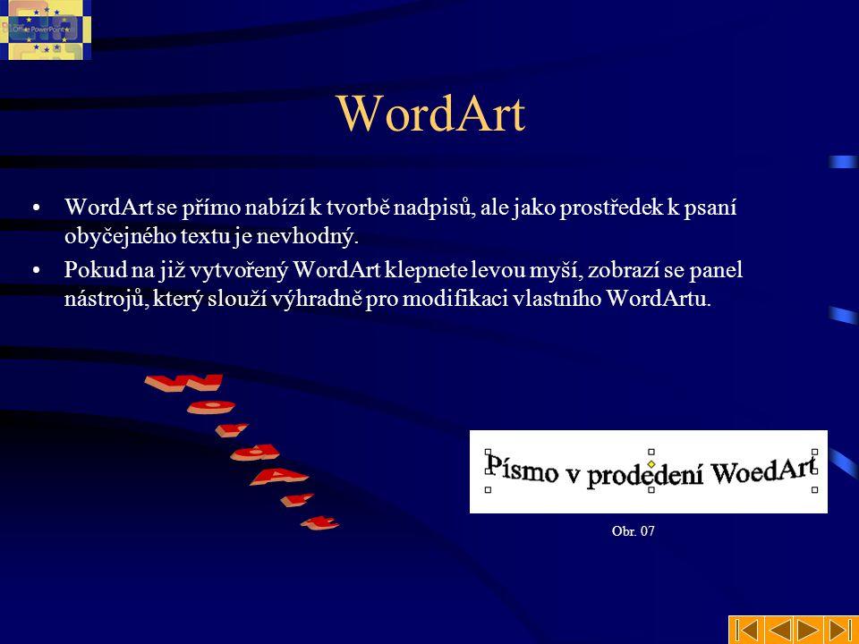 WordArt WordArt se přímo nabízí k tvorbě nadpisů, ale jako prostředek k psaní obyčejného textu je nevhodný.