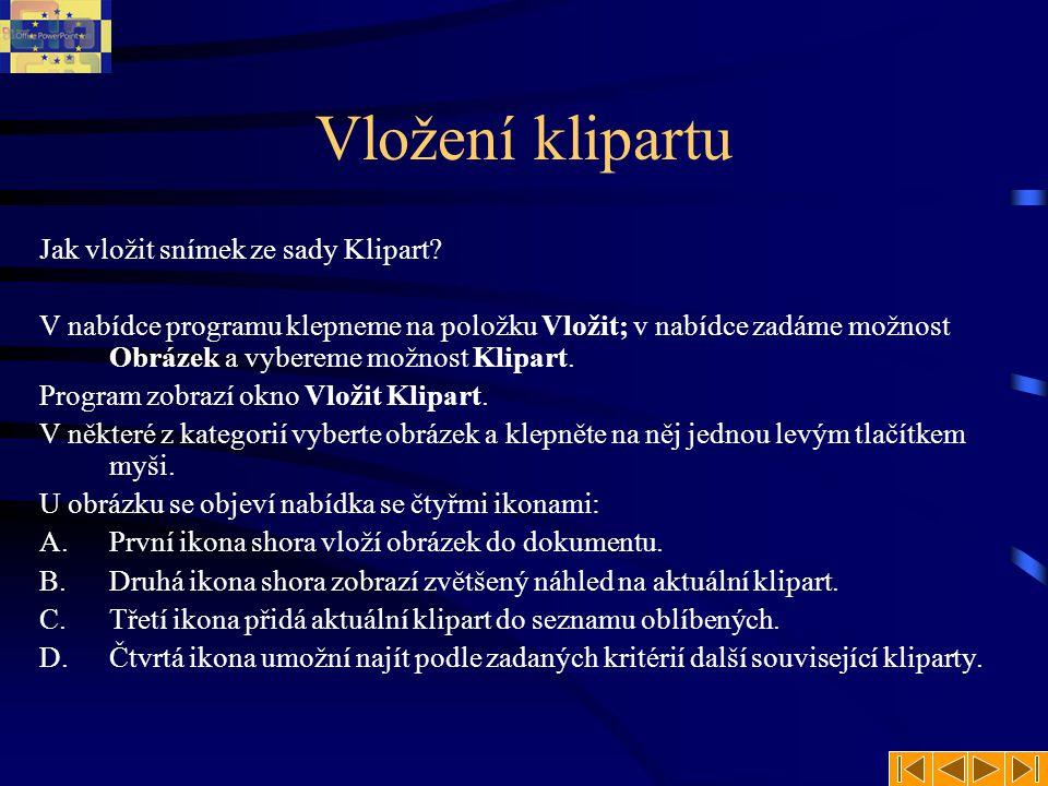 Vložení klipartu Jak vložit snímek ze sady Klipart