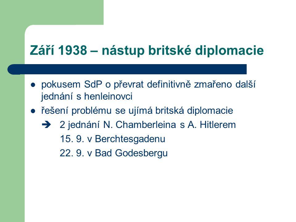 Září 1938 – nástup britské diplomacie
