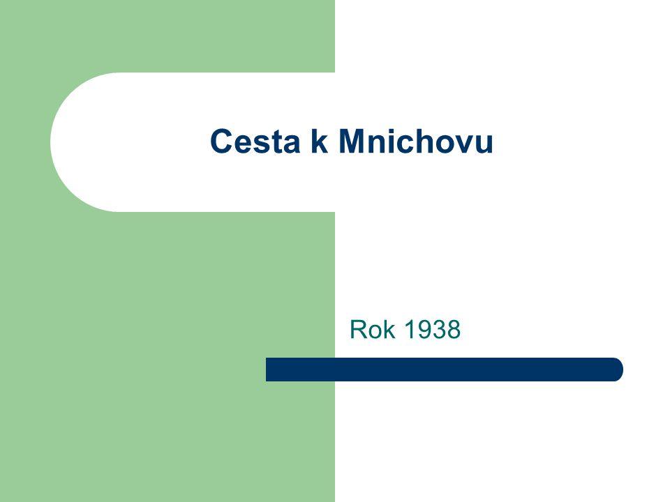 Cesta k Mnichovu Rok 1938