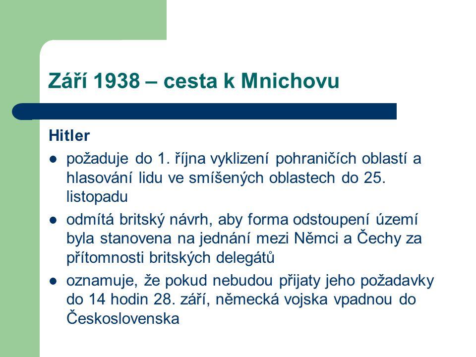 Září 1938 – cesta k Mnichovu Hitler