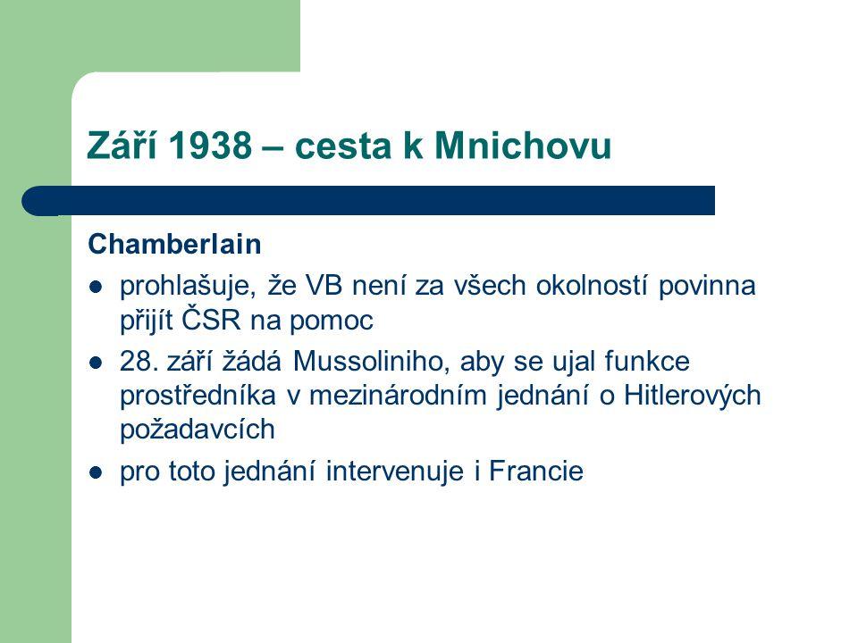 Září 1938 – cesta k Mnichovu Chamberlain