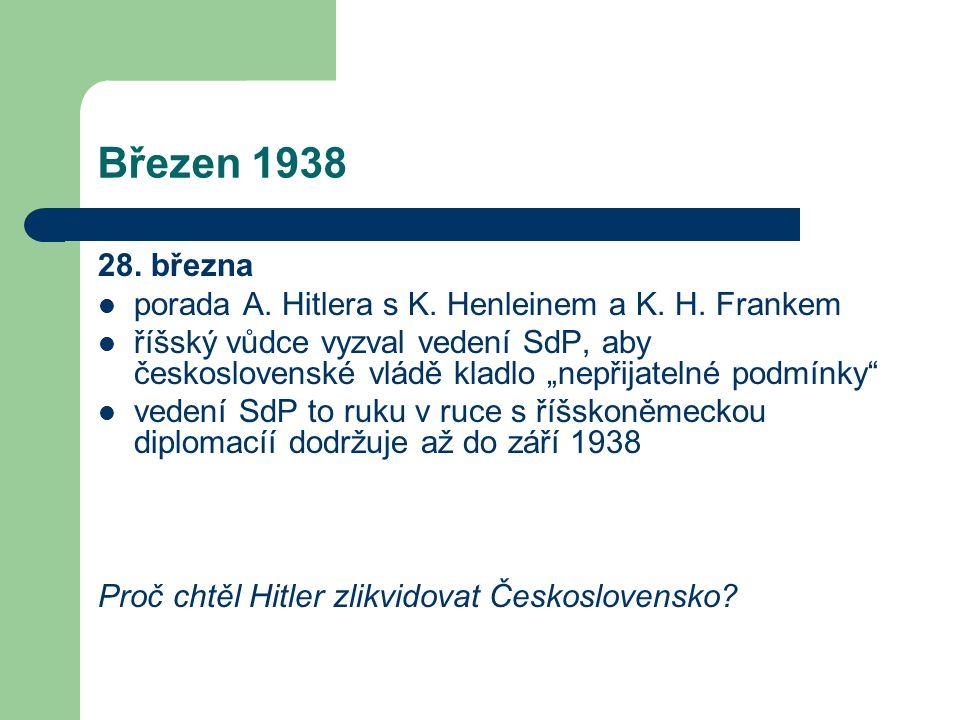 Březen 1938 28. března. porada A. Hitlera s K. Henleinem a K. H. Frankem.