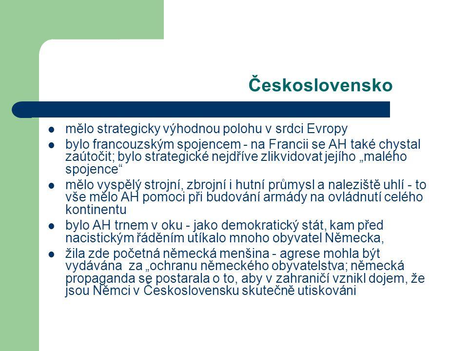 Československo mělo strategicky výhodnou polohu v srdci Evropy