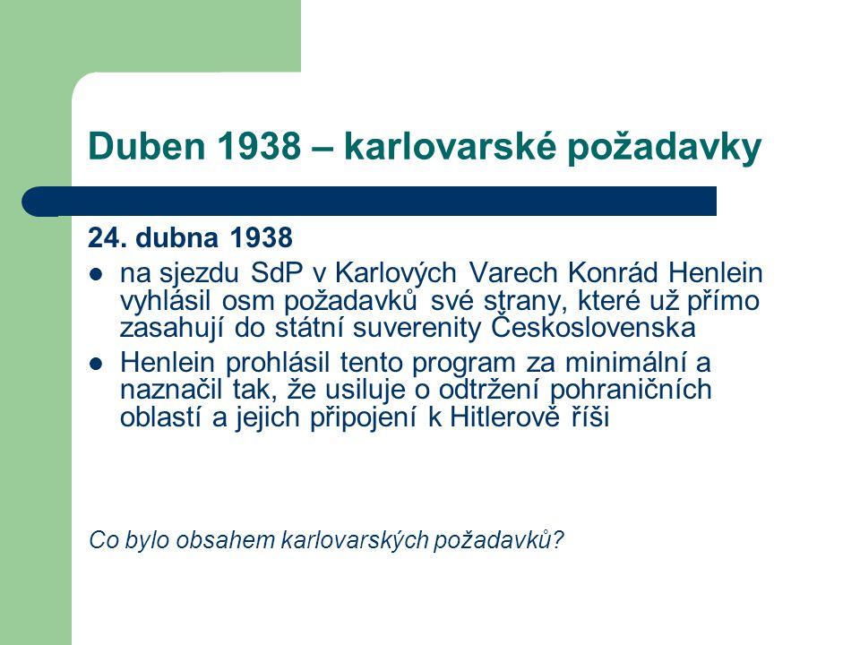 Duben 1938 – karlovarské požadavky