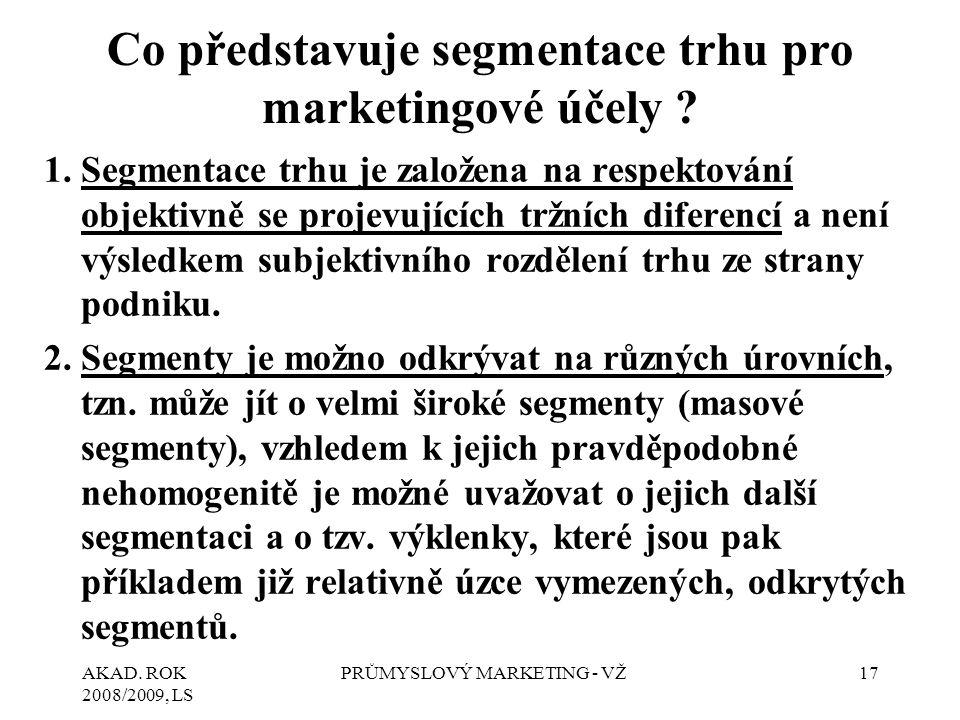 Co představuje segmentace trhu pro marketingové účely