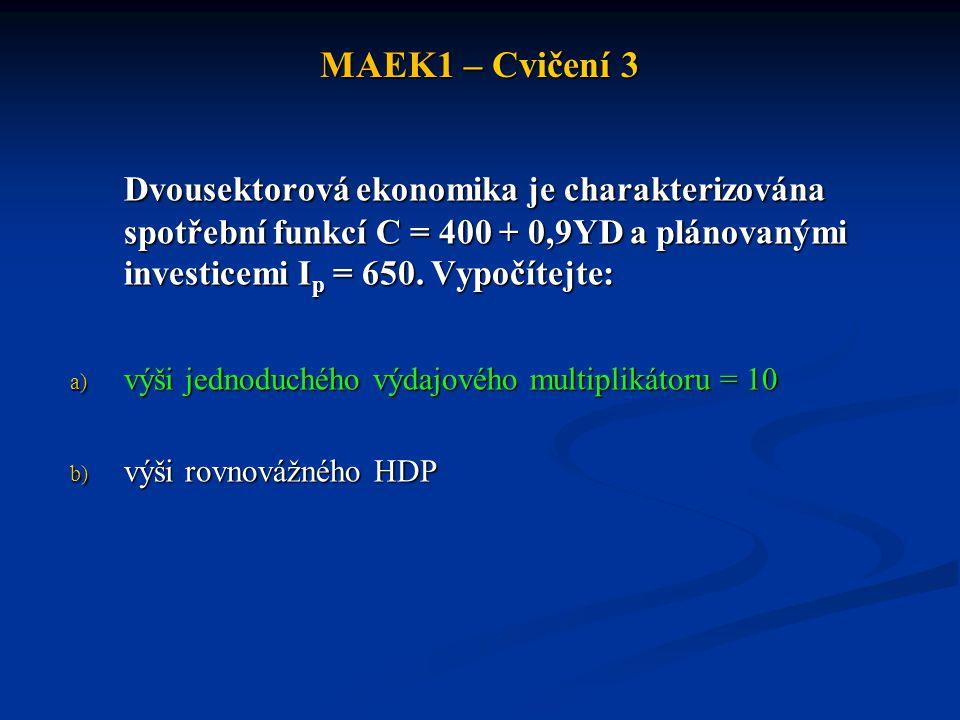 MAEK1 – Cvičení 3 Dvousektorová ekonomika je charakterizována spotřební funkcí C = 400 + 0,9YD a plánovanými investicemi Ip = 650. Vypočítejte: