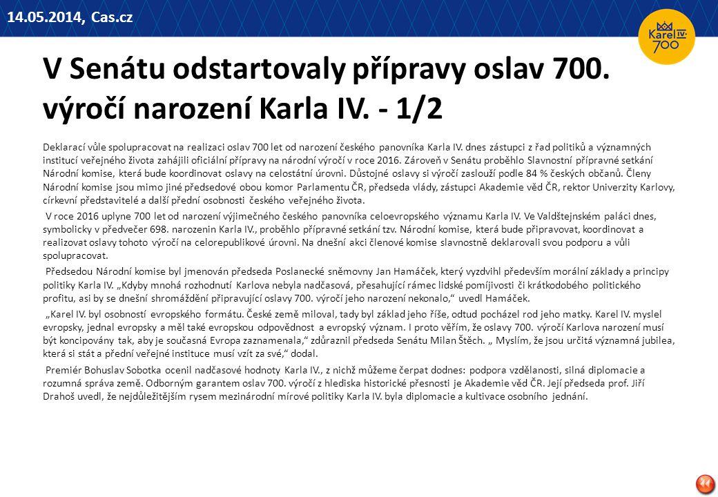 14.05.2014, Cas.cz V Senátu odstartovaly přípravy oslav 700. výročí narození Karla IV. - 1/2.