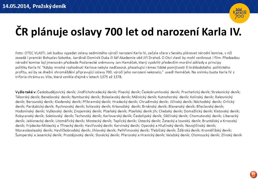 ČR plánuje oslavy 700 let od narození Karla IV.