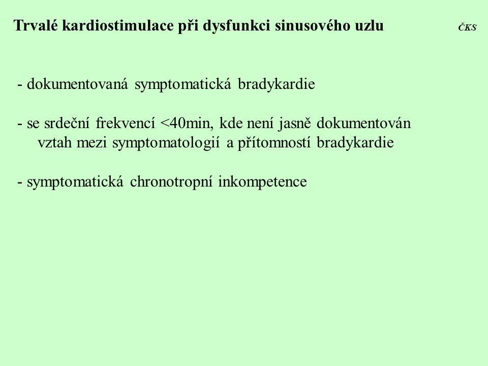 Trvalé kardiostimulace při dysfunkci sinusového uzlu ČKS