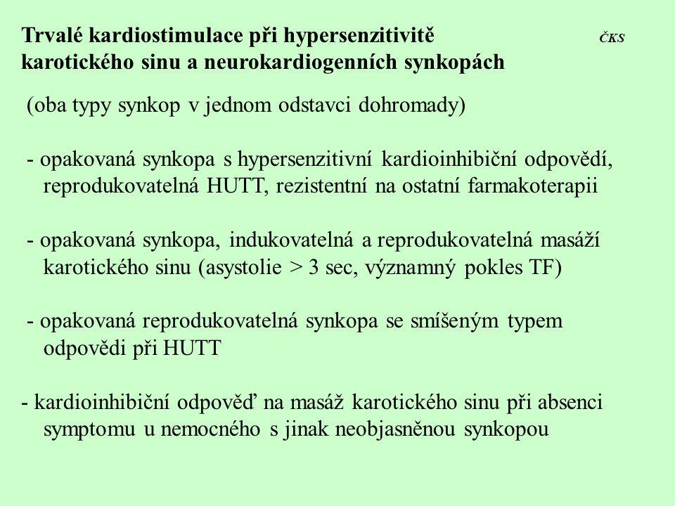 Trvalé kardiostimulace při hypersenzitivitě ČKS