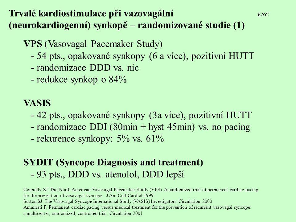 Trvalé kardiostimulace při vazovagální ESC