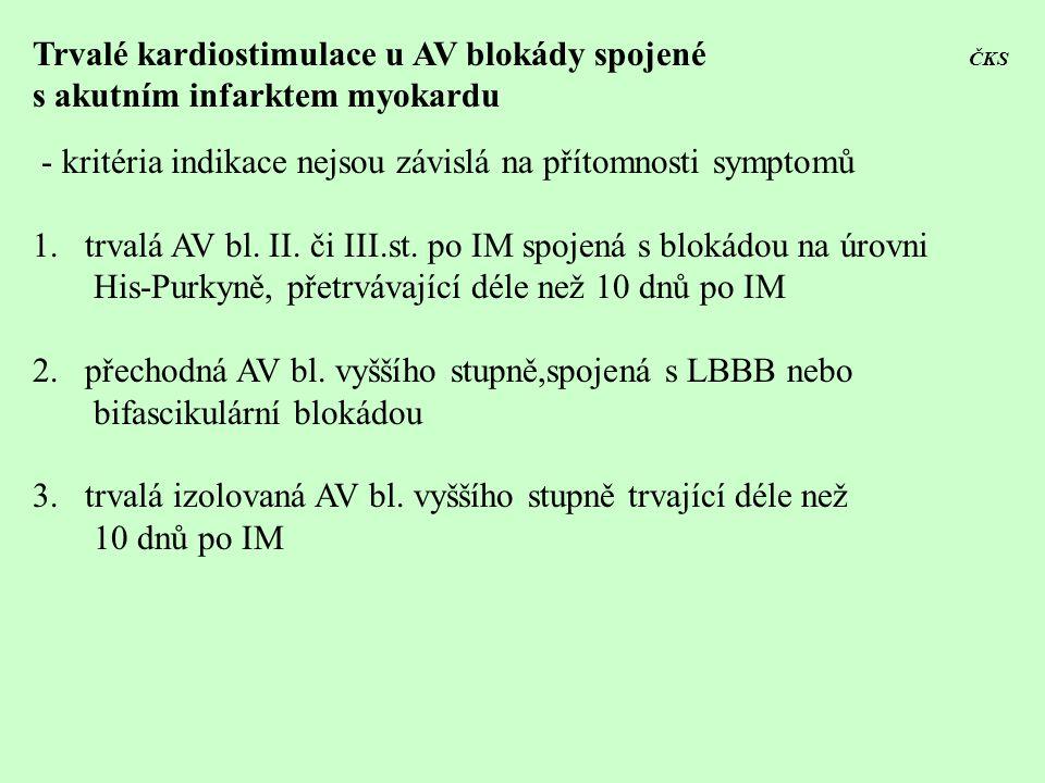 Trvalé kardiostimulace u AV blokády spojené ČKS