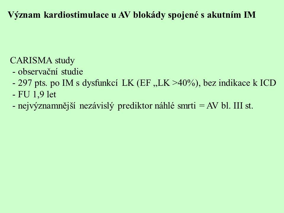 Význam kardiostimulace u AV blokády spojené s akutním IM