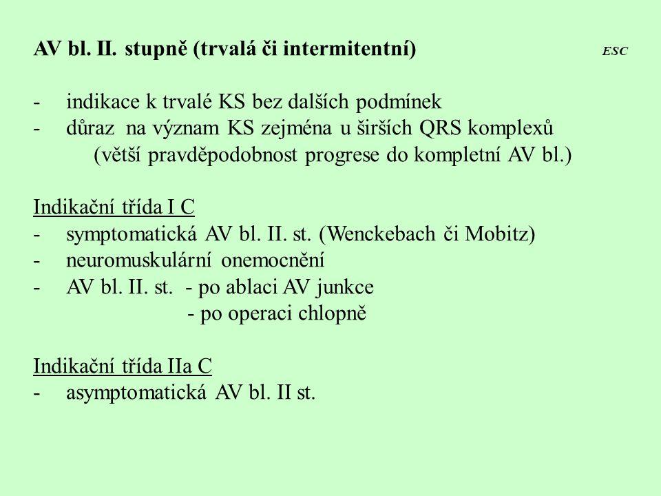 AV bl. II. stupně (trvalá či intermitentní) ESC