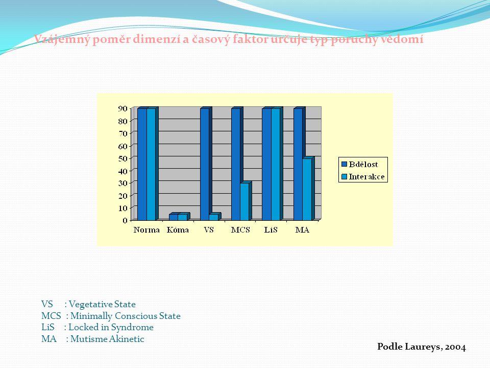 Vzájemný poměr dimenzí a časový faktor určuje typ poruchy vědomí