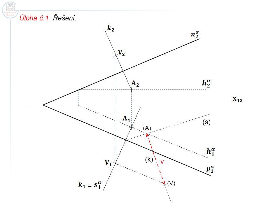 Úloha č.1 Řešení. (s) (A) (k) v (V) =
