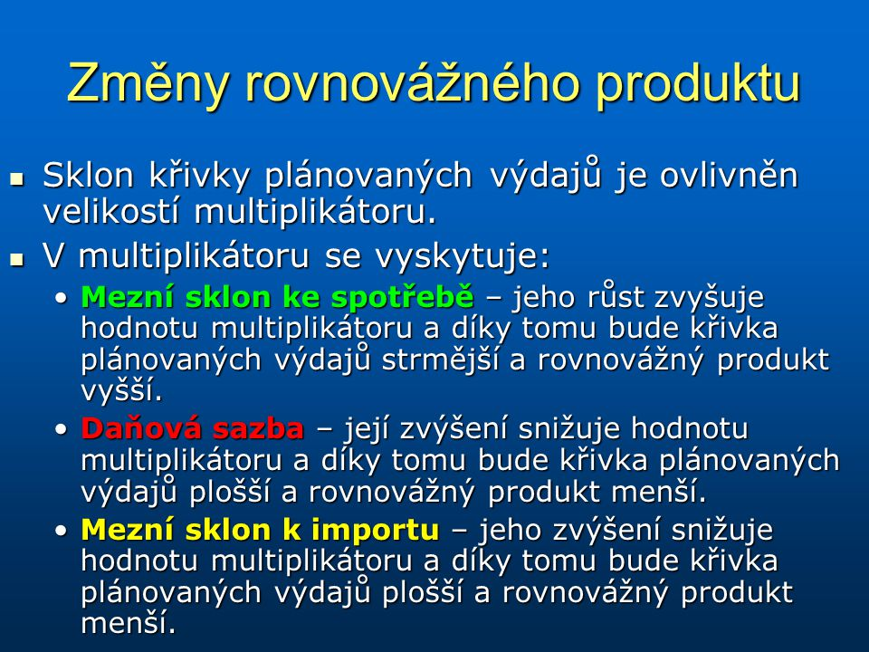 Změny rovnovážného produktu